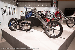 """Built with help from his high school students for the Whats the Skinny exhibition, Kevin Baas's Slim Pickens 1938 ULH 80"""" Harley-Davidson custom is a combination of various parts and pieces collected through the years. On view in the What's the Skinny Exhibition (2019 iteration of the Motorcycles as Art annual series) at the Sturgis Buffalo Chip during the Sturgis Black Hills Motorcycle Rally. SD, USA. Friday, August 9, 2019. Photography ©2019 Michael Lichter."""
