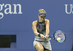 September 6, 2017 - New York, New York, United States - Madison Keys of USA returns ball during match against Kaia Kanepi of Estonia at US Open Championships at Billie Jean King National Tennis Center  (Credit Image: © Lev Radin/Pacific Press via ZUMA Wire)