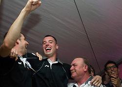 Dusan Podpecan of Cimos Koper, Jure Vran of Cimos Koper and Grozdan Skorja celebrate  after the handball match between RK Cimos Koper (SLO) and SL Benfica (POR) in return final match of EHF Challenge Cup, on May 22, 2011 in Tent at Arena Bonifika, Koper, Slovenia. Koper defeated Benfica 31-27 and became Euro Challenge Champion 2011. (Photo By Vid Ponikvar / Sportida.com)