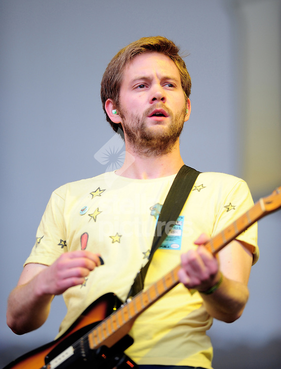 Picture by Daniel Hambury.18/07/08.Sam Dook, guitarist with The Go! Team at Latitude Music Festival..The festival, is held each year on the Henham Estate, near Southwold on the Suffolk coast.