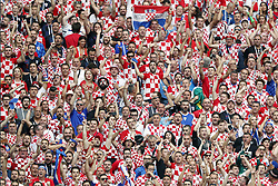 fans of Croatia during the 2018 FIFA World Cup Russia Final match between France and Croatia at the Luzhniki Stadium on July 15, 2018 in Moscow, Russia