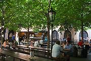 Beer garden in the Old town; Prague, Czech Republic.