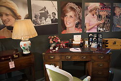 Embargoed to 0001 Friday July 21<br /> Items on the desk from the Kensington Palace sitting room of Diana, Princess of Wales on show during a preview for the Royal Gifts exhibition, which is part of the annual Summer Opening of the State Rooms at Buckingham Palace, London.