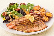 grilled Salmon,lemon,roasted potatoes,tossed salad