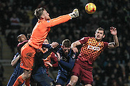 Daniel Bentley (Southend United) punches a cross/shot away early in the second half of the Sky Bet League 1 match between Bradford City and Southend United at the Coral Windows Stadium, Bradford, England on 16 February 2016. Photo by Mark P Doherty.
