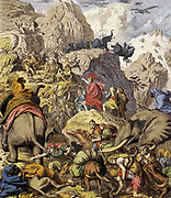 Hannibal crossing the Alps. Hannibal, (248–183 or 182 BC), Carthaginian military commander and tactician who is popularly credited as one of the most talented commanders in history.  Hannibal and his army crossed the Alps in 218 BCE in 16 days