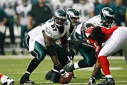 Philadelphia Eagles offensive tackle Jamaal Jackson #67 during the NFL game between the Philadelphia Eagles and the Atlanta Falcons on December 6th 2009. The Eagles won 34-7 at The Georgia Dome in Atlanta, Georgia. (Photo By Brian Garfinkel)