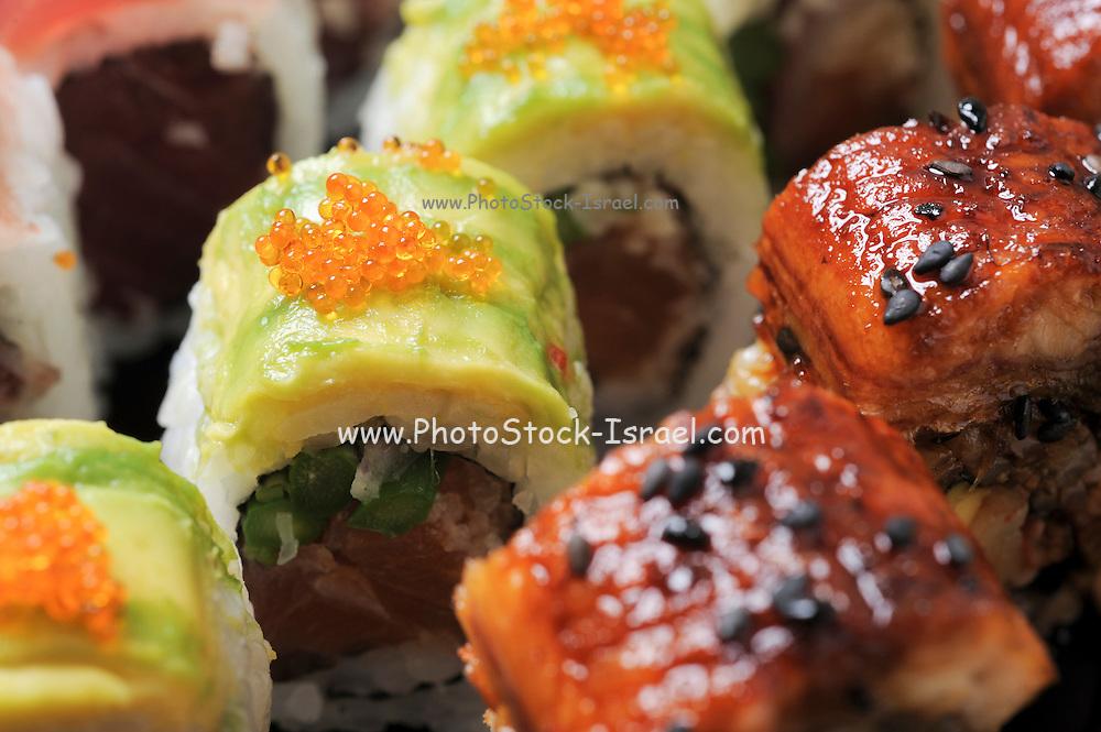 An assortment of Sushi and Sashimi.