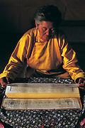 Lama reading sutras<br /> Ovgon Monastery<br /> Mongolia