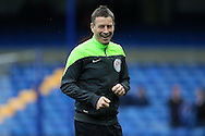 Referee Mark Clattenburg laughing during pre-match warm up. Barclays Premier league match, Chelsea v Stoke city at Stamford Bridge in London on Saturday 5th March 2016.<br /> pic by John Patrick Fletcher, Andrew Orchard sports photography.
