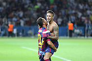 Barcelona Adriano and Barcelona Neymar  celebrate during the Champions League Final between Juventus FC and FC Barcelona at the Olympiastadion, Berlin, Germany on 6 June 2015. Photo by Phil Duncan.