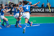 Dalila Mirabella of Italy celebrates their victory in the penalty shoot out in their match against South Africa in the Investec Hockey World League Semi Final 2013, Quintin Hogg Memorial Sports Ground, University of Westminster, London, UK on 29 June 2013. Photo: Simon Parker