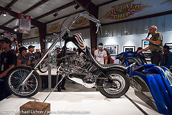 Old Iron - Young Blood exhibition media and industry reception in the Motorcycles as Art gallery at the Buffalo Chip during the annual Sturgis Black Hills Motorcycle Rally. Sturgis, SD. USA. Sunday August 6, 2017. Photography ©2017 Michael Lichter.