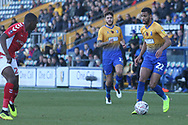 CJ Hamilton of Mansfield Town (22) on another forward run during the The FA Cup match between Mansfield Town and Charlton Athletic at the One Call Stadium, Mansfield, England on 11 November 2018.