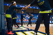 Skylar Diggins of the Dallas Wings encourages teammates before tipoff against the Connecticut Sun during a WNBA preseason game in Arlington, Texas on May 8, 2016.  (Cooper Neill for The New York Times)
