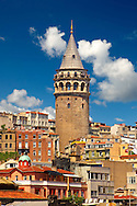 The Galata Tower (Galata Kulesi ), nine-story tower is 66.90 meters tall built in the Genoeses quarter Galata on the northern banks of the Golden Horn in 1348, and was the city's tallest structure when it was built. Called Christea Turris (the Tower of Christ in Latin) by the Genoese. Istanbul Turkey .<br /> <br /> If you prefer to buy from our ALAMY PHOTO LIBRARY  Collection visit : https://www.alamy.com/portfolio/paul-williams-funkystock/istanbul.html<br /> <br /> Visit our TURKEY PHOTO COLLECTIONS for more photos to download or buy as wall art prints https://funkystock.photoshelter.com/gallery-collection/3f-Pictures-of-Turkey-Turkey-Photos-Images-Fotos/C0000U.hJWkZxAbg