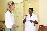 Sister in Charge Chaisa Clinic (r) explains the operations of the clinic to Gabby Logan on Wednesday 12 November 2014.