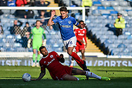 Portsmouth Midfielder, Gareth Evans (26) and Accrington Stanley Defender, Ben Richards-Everton (5) during the EFL Sky Bet League 1 match between Portsmouth and Accrington Stanley at Fratton Park, Portsmouth, England on 4 May 2019.