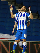 Brighton striker Tomer Hemed celebrates after opening the scoring during the Sky Bet Championship match between Brighton and Hove Albion and Rotherham United at the American Express Community Stadium, Brighton and Hove, England on 15 September 2015. Photo by Bennett Dean.