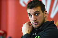 Wales rugby team captain Sam Warburton .Wales rugby team announcement and training at the Vale Resort in Hensol, near Cardiff , South Wales on Tuesday 17th March 2015. The team are preparing for their next RBS Six nations match against Italy this weekend. <br /> pic by Andrew Orchard, Andrew Orchard sports photography.