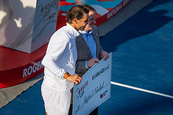 August 12, 2018 - Toronto, ON, U.S. - TORONTO, ON - AUGUST 12: Rafael Nadal of Spain poses with his cheque for $1,020,425 USD after defeating Stefanos Tsitsipas of Greece at the Men's Singles Final match at the Rogers Cup Sunday, August 12, 2018 at Aviva Centre in Toronto, Ontario Canada. (Photo by Jeff Chevrier/Icon Sportswire) (Credit Image: © Jeff Chevrier/Icon SMI via ZUMA Press)