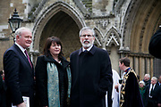 Martin McGuinness, Gerry Adams from Sinn Fein. The funeral of Tony Benn at St Margaret's Church Westminster Abbey. Tony Benn was a politician, MP and peace activist fighting for social justice.