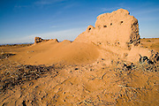 Ruins of an ancient kasbah in the desert outside of M'hamid, Morocco.
