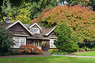 The Rose Garden Cottage (built in 1914) at the Rose Garden in Stanley Park, Vancouver, British Columbia, Canada