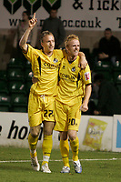 Photo: Pete Lorence.<br />Lincoln City v Bristol Rovers. Coca Cola League 2. Play off, Semi Final 2nd Leg. 17/05/2007.<br />Craig Disley congratulates Sean Rigg for his last minute goal.