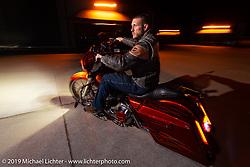 Moonshiner Josh Owens during Daytona Bike Week. South Daytona Beach, FL. USA. Monday March 12, 2018. Photography ©2018 Michael Lichter.