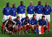 Fotball. VM 2002. 31.05.2002.<br />Frankrike v Senegal 0-1.<br />Frankrikes lag.<br />Bak fra venstre: LILIAN THURAM / SYLVAIN WILTORD / MARCEL DESAILLY / FRANCK LEBOEUF / PATRICK VIEIRA / EMMANUEL PETIT . <br />Foran fra venstre: FABIEN BARTHEZ / DAVID TREZEGUET / THIERRY HENRY / YOURI DJORKAEFF / BIXENTE LIZARAZU.<br />Foto: J-Christophe Lemasson, Digitalsport