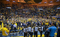 Jan 19, 2019; Morgantown, WV, USA; West Virginia Mountaineers students celebrate after beating the Kansas Jayhawks at WVU Coliseum. Mandatory Credit: Ben Queen-USA TODAY Sports