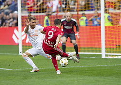 September 30, 2018 - Harrison, New Jersey, United States - Leandro Gonzalez Pirez (5) of Atlanta United FC defends against Andreas Ivan (9) of Red Bulls during regular MLS game at Red Bull Arena Red Bulls won 2 - 0 (Credit Image: © Lev Radin/Pacific Press via ZUMA Wire)