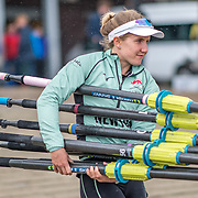 Sophie Deans , Cambridge Womens crew.<br /> <br /> Crews prepare for Sunday's 165th Boat Race between Oxford and Cambridge, River Thames, London, Thursday 4th April 2019. © Copyright photo Steve McArthur / www.photosport.nz
