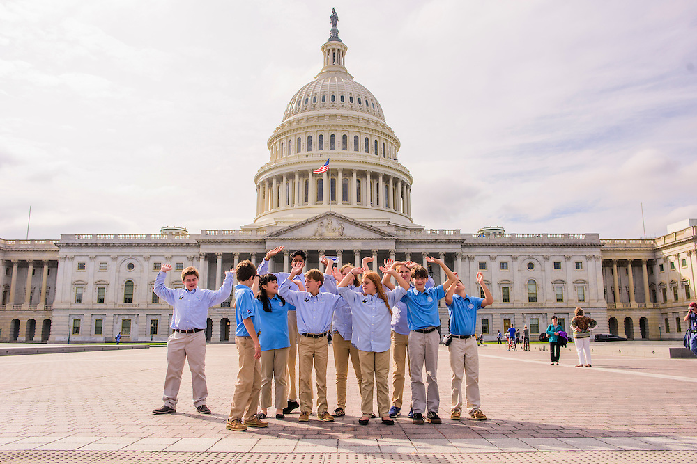 Washington, D.C. - October 07, 2016: Members of the Hyperbolics pretend to hold up the U.S. Capital building Friday October 7, 2016. Members are (front row, L-R) Max Hovious, Matthew Smith, Claire Meng, Christian Thayer, Emma Turgeon, Elliot Turner, and Doug Landrum (back row, L-R) Rohit Rajagopalan, Lily Brown, and Roger Brown.<br /> <br /> <br /> The Hyperbolics are a First Lego League team based out of Sterling School in Greenville SC, who made a trip to DC ask government officials to ban lead wheel weights Friday October 7, 2016.<br /> <br /> <br /> CREDIT: Matt Roth for Earthjustice