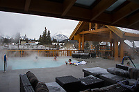 Banff ski trip. Moose Hotel and Suites - hot tub apres.    ©2019 Karen Bobotas Photographer