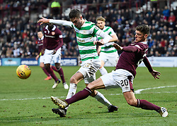 Celtic's Michael Lustig is tackled by Hearts Harry Callahan during the Ladbrokes Scottish Premiership match at Tynecastle Stadium, Edinburgh. PRESS ASSOCIATION Photo. Picture date: Sunday December 17, 2017. See PA story SOCCER Hearts. Photo credit should read: Ian Rutherford/PA Wire. EDITORIAL USE ONLY