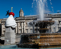 The Fourth Plinth  Trafalgar Square, London, UK ist aug  2020<br /> The End, by Heather Phillipson, is u<br />  the latest Fourth Plinth Commission, in Trafalgar Square. 30 Jul 2020