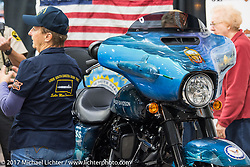 A just unveiled Harley-Davidson 2018 Street Glide donated by the Motor Company and customized by J&L Harley-Davidson to commemorate the christening of the USS South Dakota submarine. Sioux Falls, SD. USA. Monday October 9, 2017. Photography ©2017 Michael Lichter.