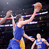 12 March 2015: New York Knicks guard Alexey Shved (1) goes for the layup past Los Angeles Lakers center Jordan Hill (27) and Los Angeles Lakers guard Jordan Clarkson (6) during the New York Knicks 101-94 victory over the Los Angeles Lakers, at the Staples Center, Los Angeles, California, USA.