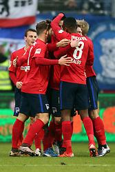 12.12.2015, Merck Stadion am Boellenfalltor, Darmstadt, GER, 1. FBL, SV Darmstadt 98 vs Hertha BSC, 16. Runde, im Bild Torjubel Hertha 0:1,v.l. Marvin Plattenhardt (21), Hertha BSC Berlin, Salomon Kalou (8), Hertha BSC Berlin, Vedad Ibisevic (19), Hertha BSC Berlin // during the German Bundesliga 16th round match between SV Darmstadt 98 and Hertha BSC at the Merck Stadion am Boellenfalltor in Darmstadt, Germany on 2015/12/12. EXPA Pictures © 2015, PhotoCredit: EXPA/ Eibner-Pressefoto/ Roskaritz<br /> <br /> *****ATTENTION - OUT of GER*****
