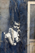 surface cracked studio style baby vintage portrait