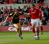Photo: Steve Bond/Richard Lane Photography. <br />Nottingham Forest v Yeovil Town. Coca-Cola Football League One. 03/05/2008. Chris Cohen (R) is challanged by Anthony Barry (L)