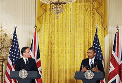 59640507  .U.S. President Barack Obama (R) speaks during a joint press conference with British Prime Minister David Cameron following their talks at the White House in Washington D.C. on May 13, 2013. Photo by: imago / i-Images. UK ONLY