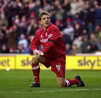 Photo. Glyn Thomas.<br /> Middlesbrough v Blackburn Rovers. Premiership. <br /> Riverside Stadium, Middlesbrough. 07/02/2004.<br /> Boro's Juninho rues missing his side's best chance to equalise.