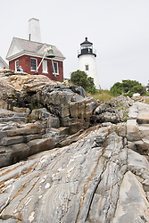 Historic Pemaquid Point Lighthouse on the coast of Maine.