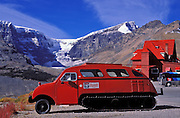 Original glacier tour bus at the Icefields Chalet, Columbia Icefields area, Jasper National Park, Alberta, Canada
