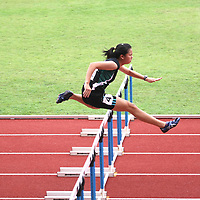 Choa Chu Kang Sports Complex, Thursday, April 11, 2013 — Jannah Wong led a podium sweep for Raffles Institution (RI) when she won the A Division 100m hurdles final at the 54th National Schools Track and Field Championships. Jannah was first in 15.10 seconds while Jermaine Liang was second in 17.50s. Meaghan Chan was third in 17.53s.<br /> <br /> Story: http://www.redsports.sg/2013/04/14/a-div-girls-100m-hurdles-jannah-wong-ri/
