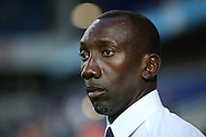 Jimmy Floyd Hasselbaink, the QPR manager looks on from the dugout . EFL Skybet football league championship match, Queens Park Rangers v Newcastle Utd at Loftus Road Stadium in London on Tuesday 13th September 2016.<br /> pic by John Patrick Fletcher, Andrew Orchard sports photography.