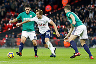Tottenham Hotspur forward Harry Kane (10) tries to keep the ball during the Premier League match between Tottenham Hotspur and West Bromwich Albion at Wembley Stadium, London, England on 25 November 2017. Photo by Andy Walter.